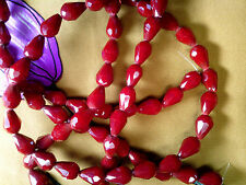 VTG 30 BLOOD RED FACETED GLASS DROP BEADS 12x9mm #091816k