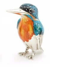 More details for large saturno silver and enamel kingfisher