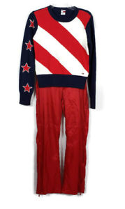 TOMMY HILFIGER 2 Piece Outfit Size 7 Medium Red White Blue Sweater Track Pants