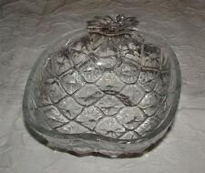 VINTAGE ITALIAN CLEAR TEXTURED PRESSED GLASS PINEAPPLE SHAPE BOWL MADE IN ITALY