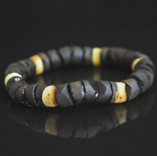 raw unpolished butterscotch dark cognac Baltic amber bracelet Men's solid