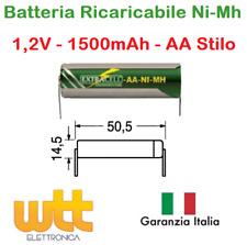 Batteria Ricaricabile NI-MH Stilo AA 1,2V 1500mAh 50,5x14,5mm a saldare