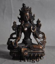 Old Tibetan buddhism bronze Green Tara Quan yin Kwan-yin Guan Yin buddha statue