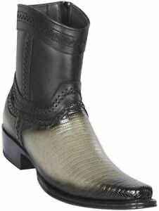 "Men's Los Altos Genuine Teju Lizard Ankle Boots Square Toe Side Zipper 6"" Shaft"
