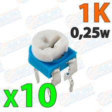 10x Potenciometro 1K ohm 1/4w 0,25w horizontal resistencia variable PCB