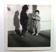 Vintage PHOTO Cute Little Boys In Winter Jackets Outside Home