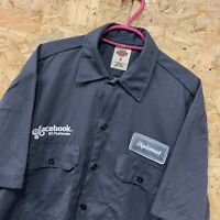 Vintage DICKIES Workwear Work Short Sleeve Shirt Charcoal Grey USA Size S Small