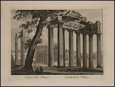 1818c.Inc/Rame.ROMA:Tempio della FORTUNA. par NIBBY - Parboni-Ruga.