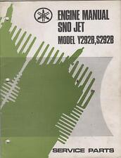 1972 YAMAHA ENGINES SNO JET Y292B, S292B SERVICE PARTS