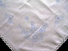 Tablecloth  printed Scottish thistle to embroider with cotton lace edge CSOOO7