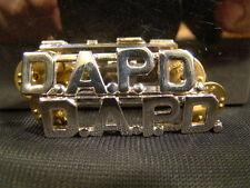 "Pair of Silver D.A.P.D. Metal Brand New 7/16"" Uniform Pins DAPD"