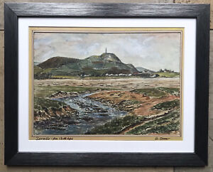 Original Irish Art Watercolour Painting Scrabo Tower From Castle Espie Co Down.