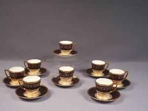 Minton H3998 Cobalt GOLD Encrusted Coffee Espresso cup Saucer set Antique Birks
