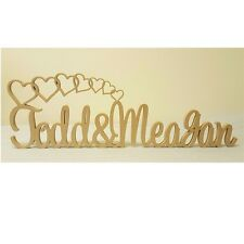 Personalised LARGE custom wedding names & freestanding wooden cascade heart sign
