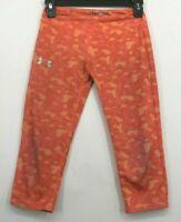 Under Armour Girls Youth Medium Heat Gear Fitted Orange Camo Capri Leggings