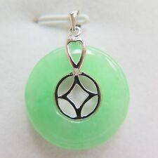New Good 925 Sterling Silver Coin with Circle Shape Jade Pendant 31mm H