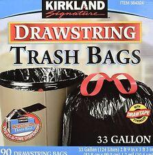 Kirkland Signature ™ 33 Gallone Coulisse TRASH sacchetti 90 Pack NUOVO