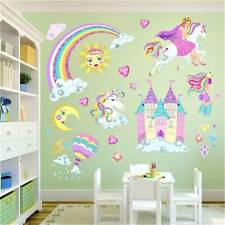 Princess Castle Fairy Unicorn Childrens Room Wall Stickers Kids Girls Bedroom AU