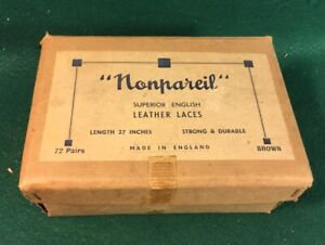 Vintage Nonpareil Shoe Lace Box For Leather Laces Made In England
