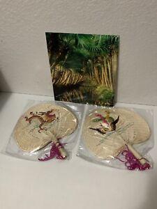 NEW China Xinhui Artisan Handmade Spade-shaped Dragon And Phoenix Palm Fan Set
