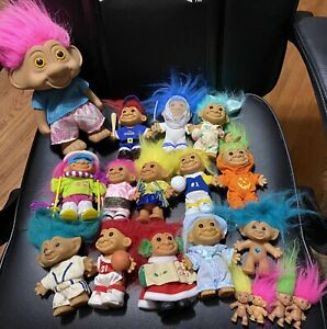 18 Vintage TROLL DOLLS 90s Lot Incl. Russ Bunny Baseball and more