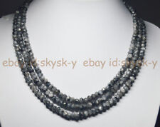"Beads Necklace 3 Strand 17""-19"" Aa Natural 4X6mm Natural Labradorite Faceted"