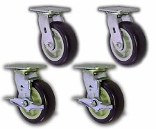 4 Pack 6 X 2 Swivel Plate Caster With Blue Polyurethane Wheel Amp 2 Brakes 4000