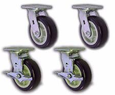 "4 Pack - 6"" x 2"" Swivel Plate Caster w/ Blue Polyurethane Wheel & 2 Brakes 4000#"