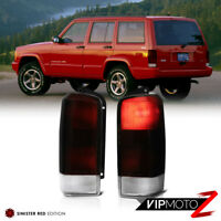 For 97-03 Jeep Cherokee XJ Deep Red Smoke Brake Signal Tail Light PAIR Assembly