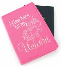 Pink Unicorn Embroidered Passport Cover Holder Passport Wallet, Kids Passport