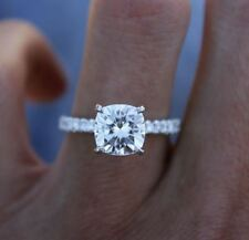3Ct Cushion Cut Moissanite Diamond Solitaire Engagement Ring 14K White Gold