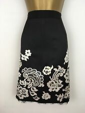COAST Mariah Black Champagne Fully Lined Satin Pencil Skirt Size 16 BNWTS Lace