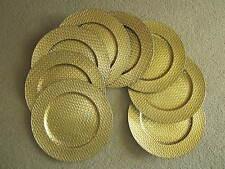 """Lot of 8 Round Charger Plates 13"""" Gold Color Black Back Basket Weave Design"""