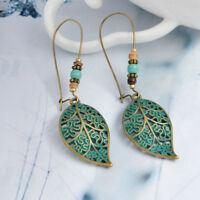 Fashion Women Green Leaf Hollow Leaf Earrings Long Dangle Drop Hook