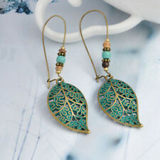Women Green Leaf Hollow Leaf Bronze Like Fashion Earrings Long Dangle Drop Great