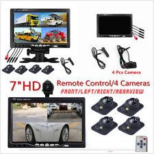 """7"""" HD 4CH cuatro Split Monitor de reversa para Automóvil 4AV + delantera/trasera/izquierda/derecha de la cámara de visión"""