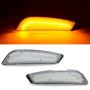 Clear Front Bumper Amber LED SIde Marker Lamp Lens Pair Fits: 2003-2007 Cadillac
