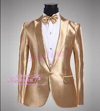 Shiny Mens One Botton Gold Costume Blazers Tuxedo Wedding Coats Short Jackets Sz