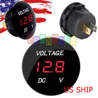Red LED Digital Waterproof Voltmeter A Gauge Meter 12V-24V Car Auto Motorcycle