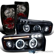 For 94-01 Ram 1500 2500 3500 Halo LED Black Projector Headlight+Smoke Tail Lamps