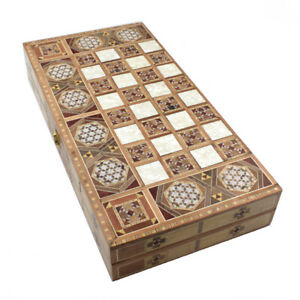 Backgammon Tavla Arabeske Perlmutt Traditional Spiel Mosaik Spielsteine