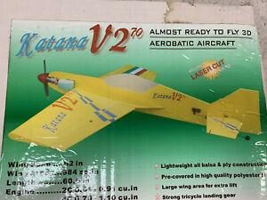 """Nice NIB Katana V2 46/70 Wood ARF 62"""" Airframe Kit Needs Hardware"""