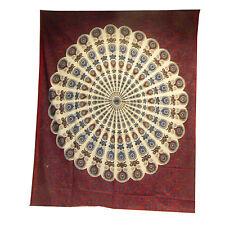 Couverture indienne Tenture Paon Mandala Bordeaux Blanc 230x200 cm