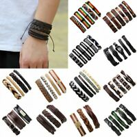 Men Women Handmade Genuine Leather Bracelet Braided Punk Bangle Wristband Set