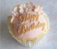 Happy Birthday Fondant Gum paste Clay Silicone Cupcake Cake Topper Mold Molder