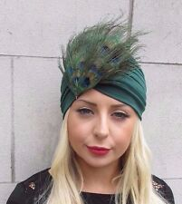 Bottle Green Peacock Feather Turban Headpiece Fascinator 1920s Flapper Hair 3327