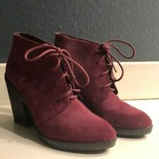 Steve Madden High Heel Burgundy/Maroon Lace Up Booties - 8.5