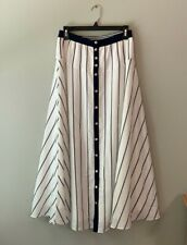 Soft Surroundings size XS blue striped long skirt lined