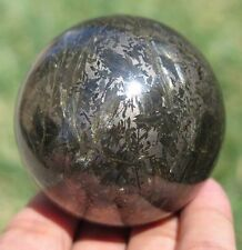 60mm 12.7OZ Natural Flash Solid Hematite Crystal Sphere Ball
