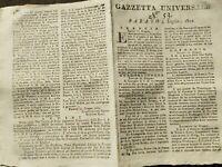 1802 GAZZETTA UNIVERSALE COSTITUZIONE REPUBBLICA LIGURE; RITORNO DEL RE A NAPOLI